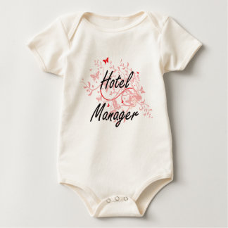Hotel Manager Artistic Job Design with Butterflies Baby Bodysuit