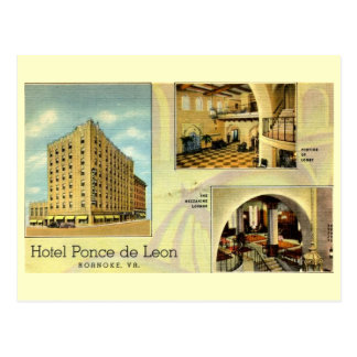 Hotel Ponce de Leon, Roanoke, Virginia Vintage Postcard