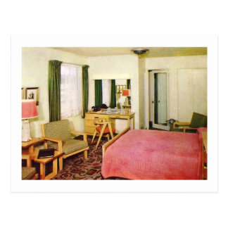 Hotel Room Interior 1950s Retro Postcard