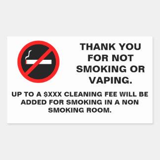 Hotel room no smoking no vaping sign rectangular sticker
