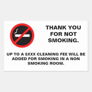 Hotel room no smoking sign rectangular sticker