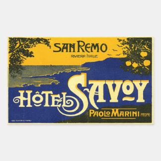 Hotel Savoy (San Remo Italy) Rectangular Sticker