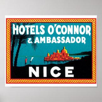 Hotels O'Connor & Ambassador Nice Label Poster