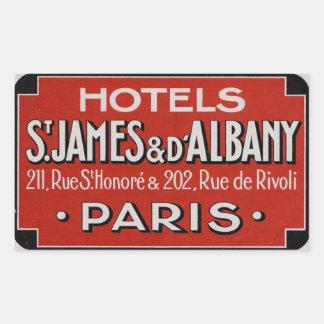 Hotels St james & d'Albaby (Paris France) Rectangular Sticker