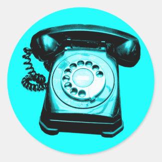 Hotline Cyan Round Sticker