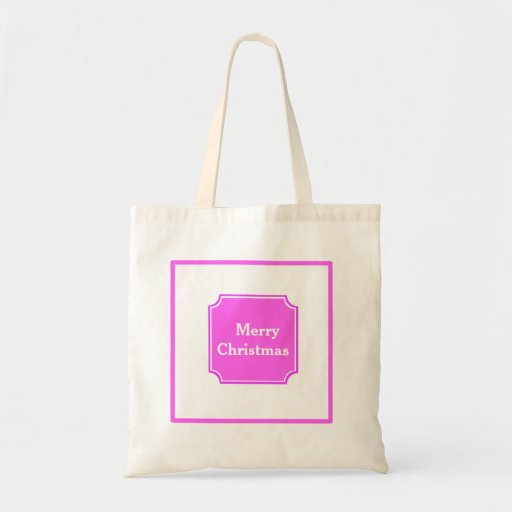 Hotpink Merry Christmas Holiday Shopping Tote Bag