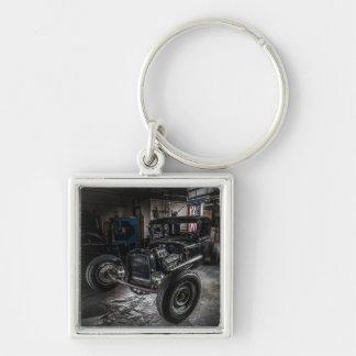 Hotrod in a Garage Keychain/Keyring Key Ring