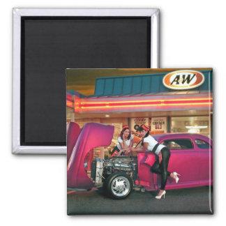 Hotrod Retro Neon Diner Car Hop Pin Up Girls Magnet