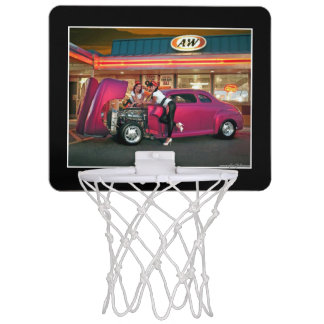 Hotrod Retro Neon Diner Car Hop Pin Up Girls Mini Basketball Hoop