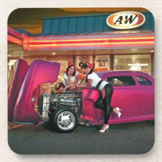 Hotrod Retro Neon Diner Classic Car Hop PinUp Girl Coaster