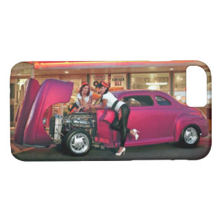 Hotrod Retro Neon Diner Classic Car Hop PinUp Girl iPhone 8/7 Case