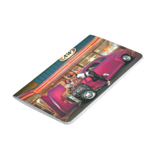 Hotrod Retro Neon Diner Classic Car Hop PinUp Girl Journal