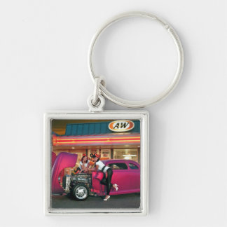 Hotrod Retro Neon Diner Classic Car Hop PinUp Girl Key Ring