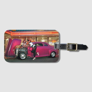 Hotrod Retro Neon Diner Classic Car Hop PinUp Girl Luggage Tag