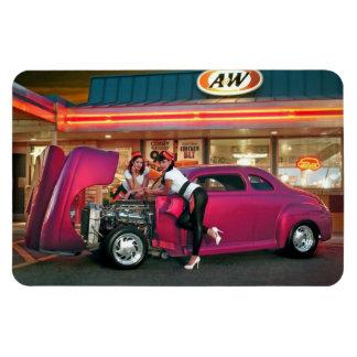 Hotrod Retro Neon Diner Classic Car Hop PinUp Girl Magnet