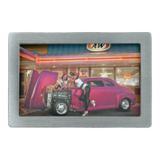Hotrod Retro Neon Diner Classic Car Hop PinUp Girl Rectangular Belt Buckle