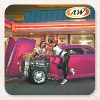 Hotrod Retro Neon Diner Classic Car Hop PinUp Girl Square Paper Coaster