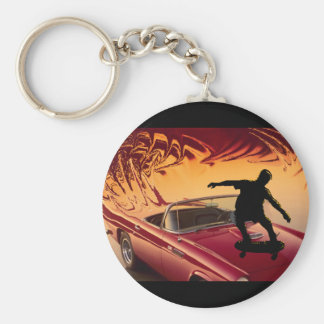Hotrods and skateboarders key ring