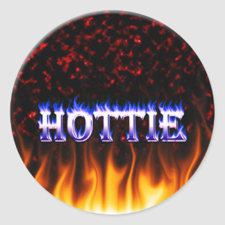 Hottie fire and flames Red marble Round Sticker