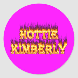 Hottie Kimberley fire and flames. Round Stickers