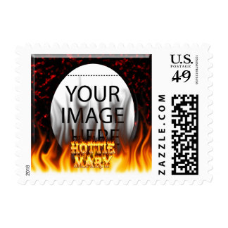 Hottie Mary fire and flames red marble Postage