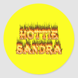 Hottie Sandra fire and flames. Sticker