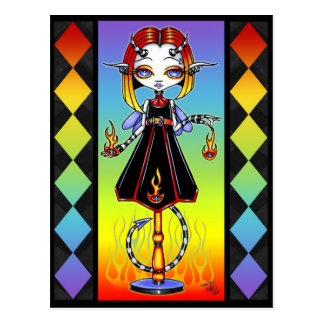 Hotty Pixie Stick Fire Starter Rainbow Postcard