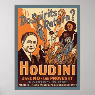 Houdini ~ Do Spirits Return? ~ Vintage Magician Poster
