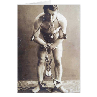 """Houdini in Chains"" blank greeting card"