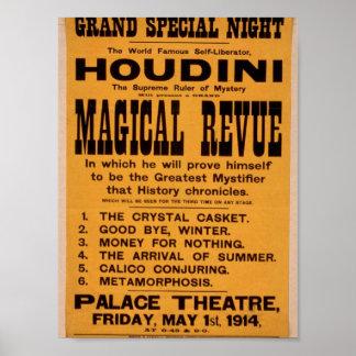 Houdini, 'Magical Revue' Retro Theater Poster