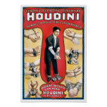 Houdini Magician 1909 Vintage Poster Restored