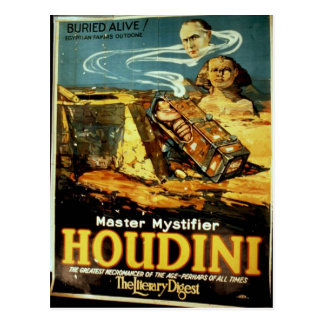 Houdini, 'the Literary Digest' Vintage Theater Postcard
