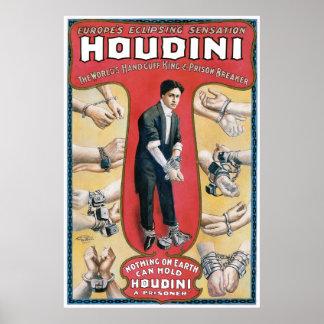 Houdini Vintage Handcuff Escape Artist Print