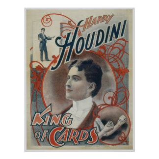 Houdini ~ Vintage Magician King of Cards Poster