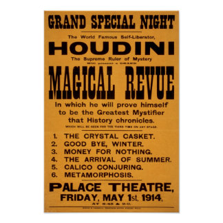 Houdini's Magical Revue, 1914. Vintage Advertising Poster