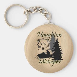 Houghton Michigan Snowmobile Bear Basic 3 Key Ring