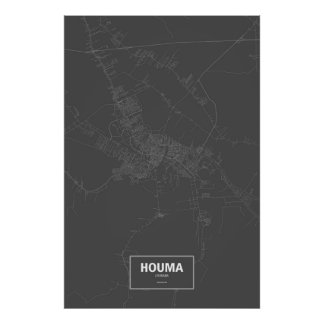 Houma, Louisiana (white on black) Poster