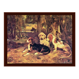 Hounds By Alexandre-Gabriel Decamps Postcard