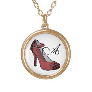 Hounds-tooth Heel! Round Pendant Necklace