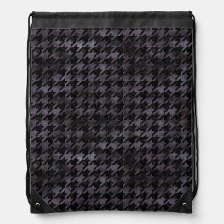 HOUNDSTOOTH1 BLACK MARBLE & BLACK WATERCOLOR DRAWSTRING BAG