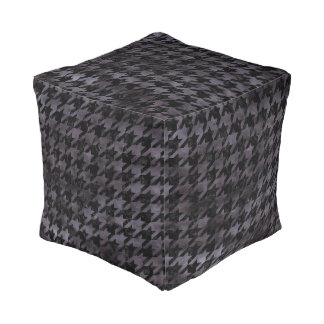 HOUNDSTOOTH1 BLACK MARBLE & BLACK WATERCOLOR POUF