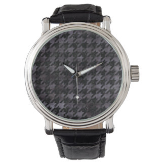 HOUNDSTOOTH1 BLACK MARBLE & BLACK WATERCOLOR WATCH