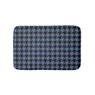 HOUNDSTOOTH1 BLACK MARBLE & BLUE DENIM BATH MAT