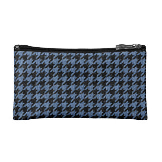 HOUNDSTOOTH1 BLACK MARBLE & BLUE DENIM COSMETIC BAG
