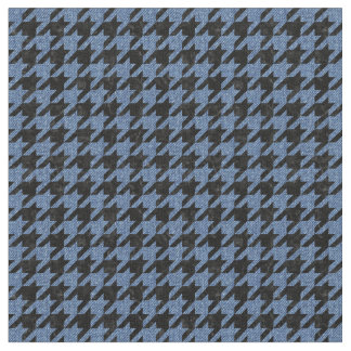 HOUNDSTOOTH1 BLACK MARBLE & BLUE DENIM FABRIC
