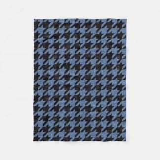 HOUNDSTOOTH1 BLACK MARBLE & BLUE DENIM FLEECE BLANKET