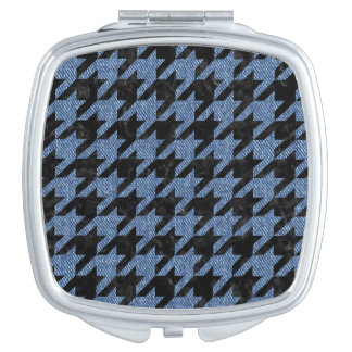 HOUNDSTOOTH1 BLACK MARBLE & BLUE DENIM MAKEUP MIRROR