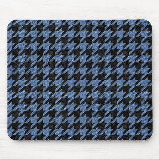 HOUNDSTOOTH1 BLACK MARBLE & BLUE DENIM MOUSE PAD