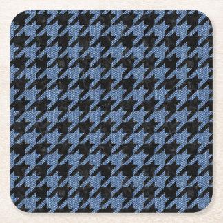HOUNDSTOOTH1 BLACK MARBLE & BLUE DENIM SQUARE PAPER COASTER