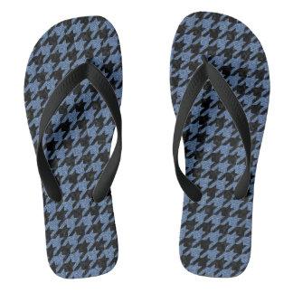 HOUNDSTOOTH1 BLACK MARBLE & BLUE DENIM THONGS